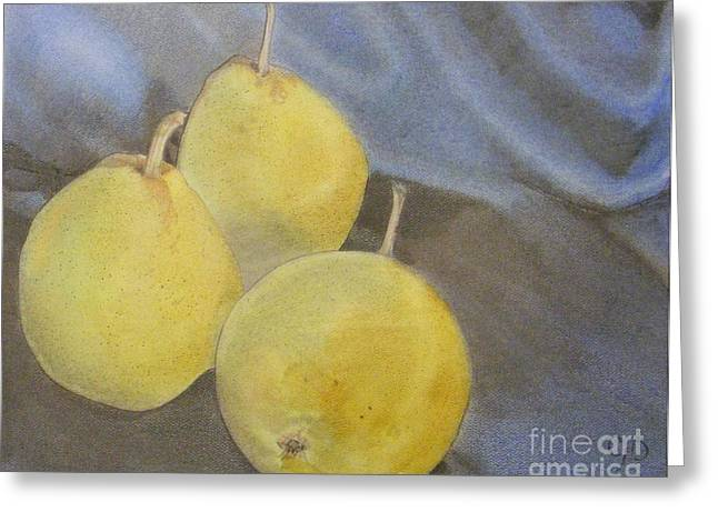 3 Pears Greeting Card by Crispin  Delgado