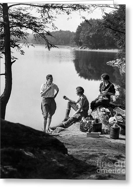 3 People Picnicking, C.1920-30s Greeting Card by H. Armstrong Roberts/ClassicStock