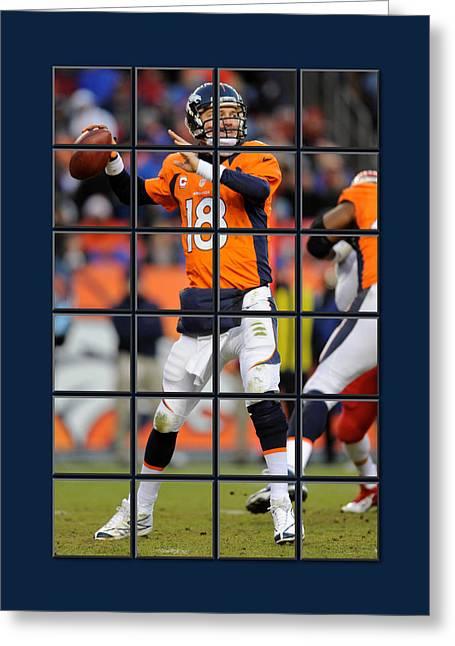 Peyton Manning Broncos Greeting Card by Joe Hamilton