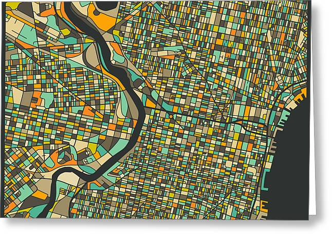 Philadelphia Map Greeting Card