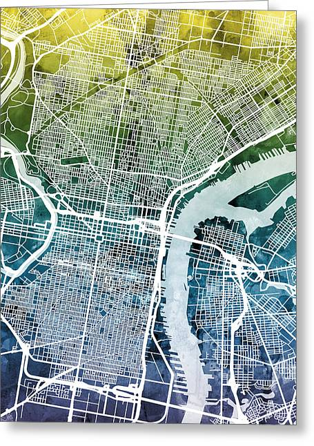 Philadelphia Pennsylvania City Street Map Greeting Card by Michael Tompsett