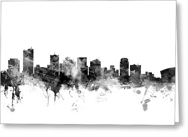 Phoenix Arizona Skyline Greeting Card by Michael Tompsett