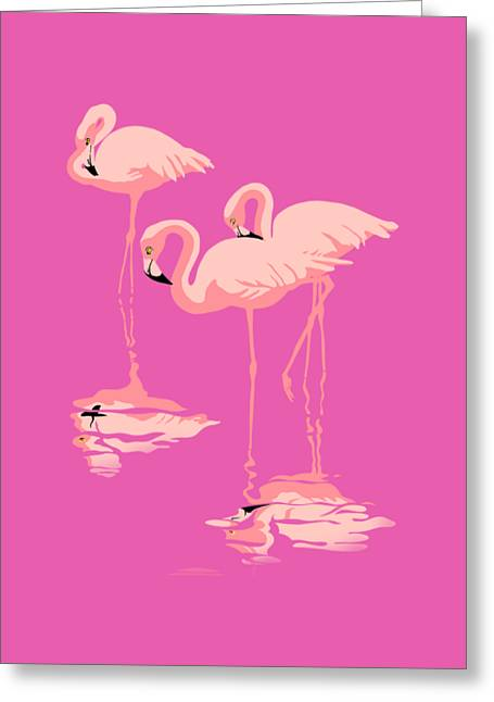 3 Pink Flamingos Abstract Pop Art Nouveau Graphic Art Retro Stylized Florida Greeting Card by Walt Curlee