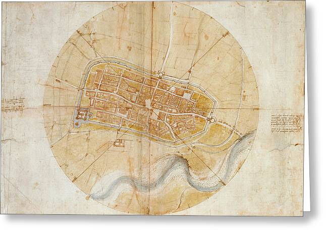 Plan Of Imola Greeting Card by Leonardo da Vinci