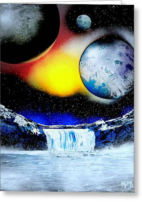 Outer Space Paintings Greeting Cards - 3 planets 4658 E Greeting Card by Greg Moores