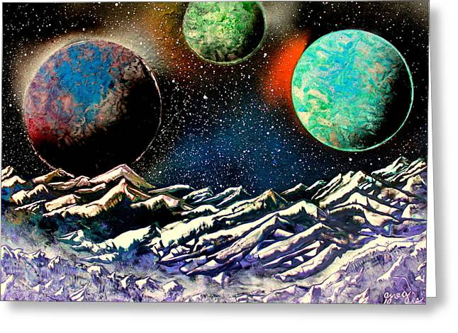 Outer Space Paintings Greeting Cards - 3 Planets 4664 E Greeting Card by Greg Moores