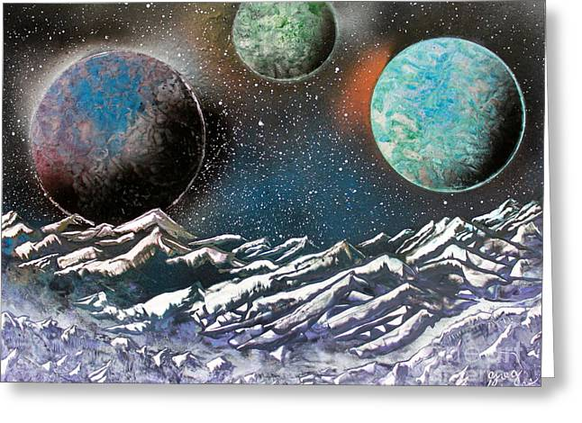 3 Planets 4664 Greeting Card by Greg Moores