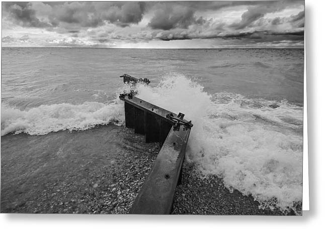 Point Betsie Waves In Black And White Greeting Card