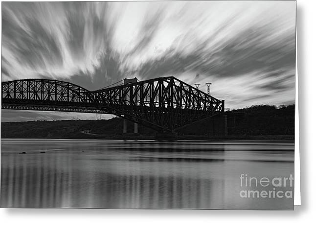 Pont De Quebec Sunset Greeting Card by Colin Woods