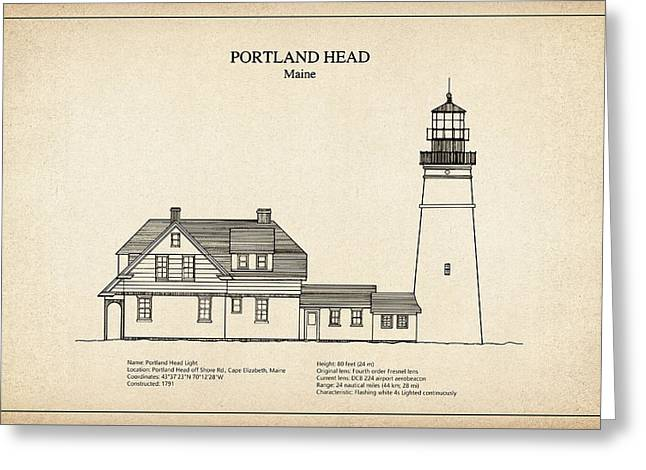 Portland Head Lighthouse - Maine - Blueprint Drawing Greeting Card by Jose Elias - Sofia Pereira