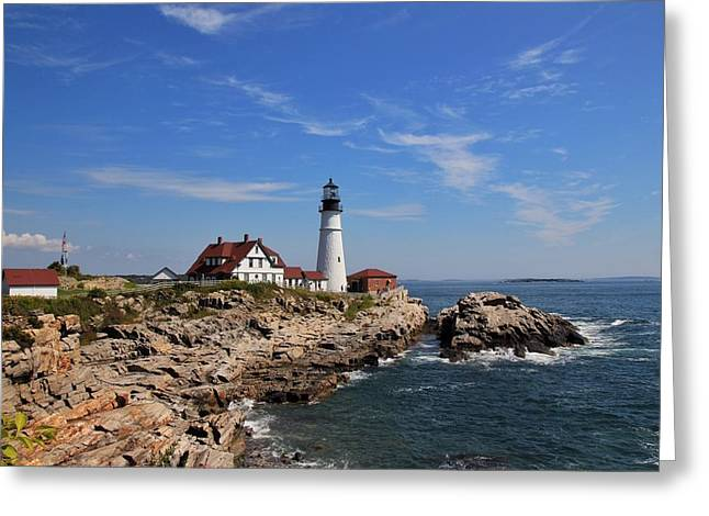 Portland's Head Lighthouse Greeting Card by Luisa Azzolini