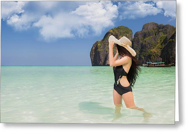 Portrait Of Woman In Black Swim Posing On Tropical Beach Greeting Card