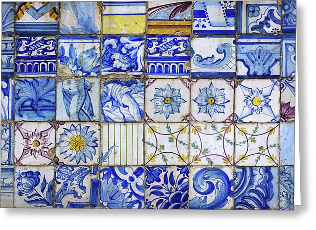 Portuguese Tiles Greeting Card by Carlos Caetano