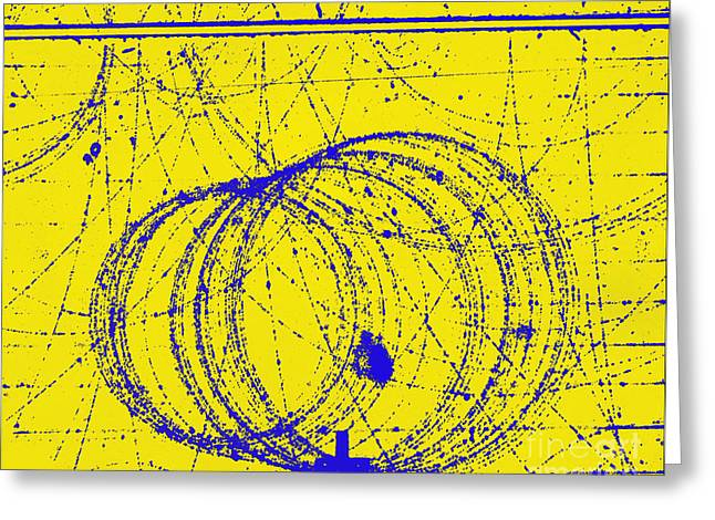 Positron Tracks Greeting Card by Omikron