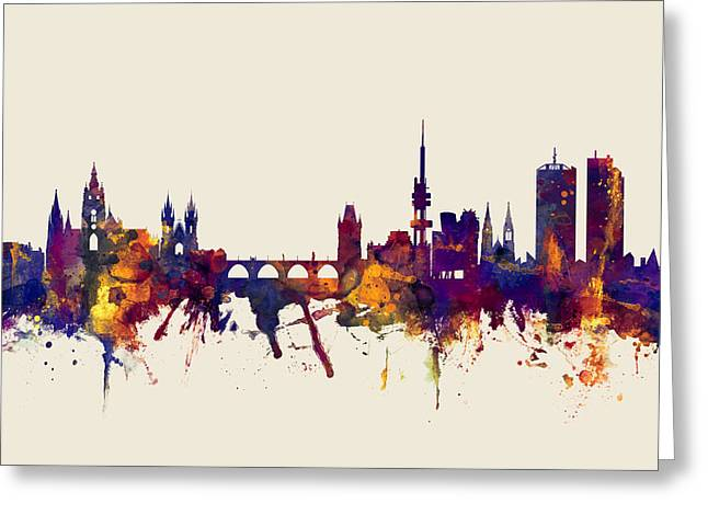 Prague Praha Czech Republic Skyline Greeting Card