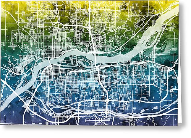 Quad Cities Street Map Greeting Card by Michael Tompsett