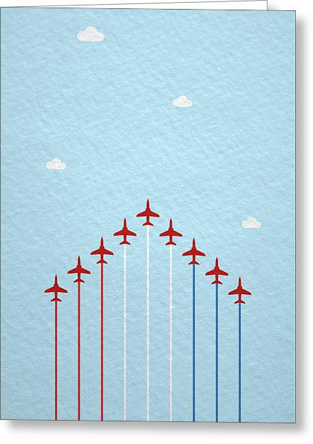 Raf Red Arrows In Formation Greeting Card