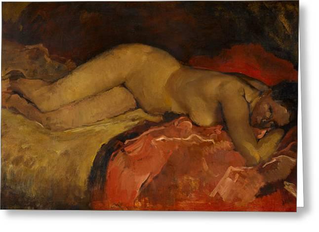 Reclining Nude Greeting Card by George Hendrik Breitner