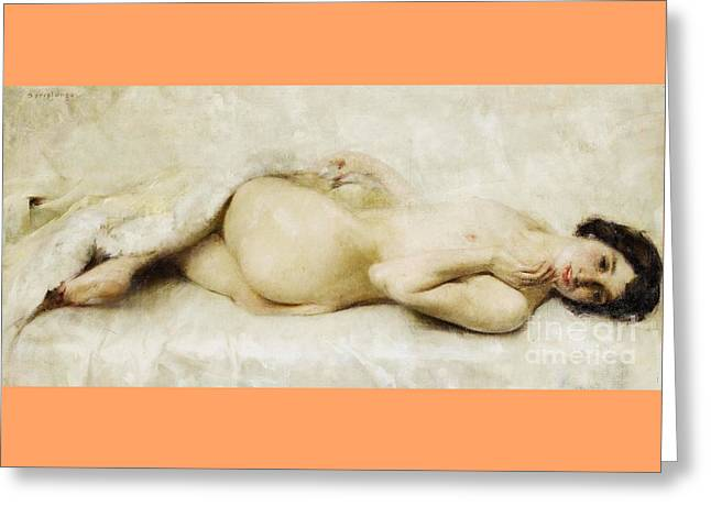 Reclining Nude Greeting Card by Pg Reproductions