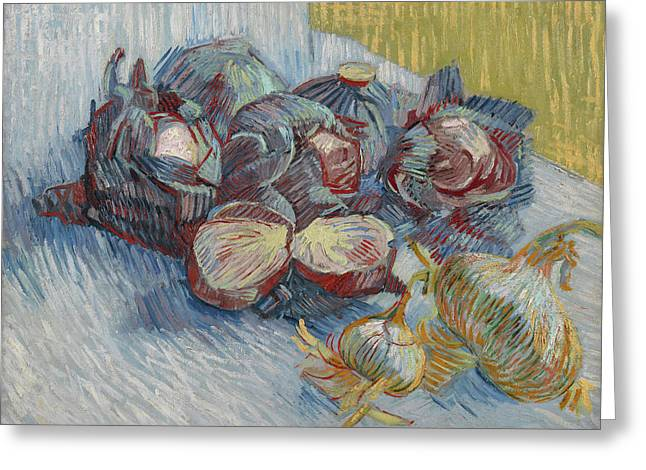Red Cabbages And Onions Greeting Card