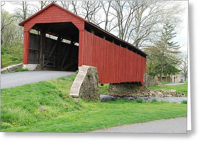 Red Covered Bridge Greeting Card by Brian Williams