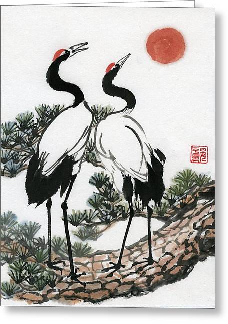Red Crowned Crane Greeting Card