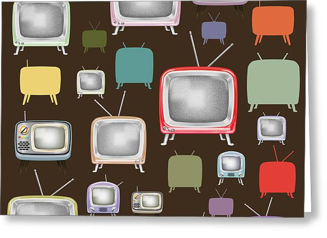 Broadcast Antenna Greeting Cards - retro TV pattern  Greeting Card by Setsiri Silapasuwanchai