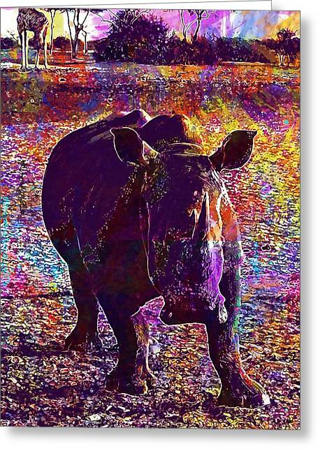 Greeting Card featuring the digital art Rhino Africa Namibia Nature Dry  by PixBreak Art