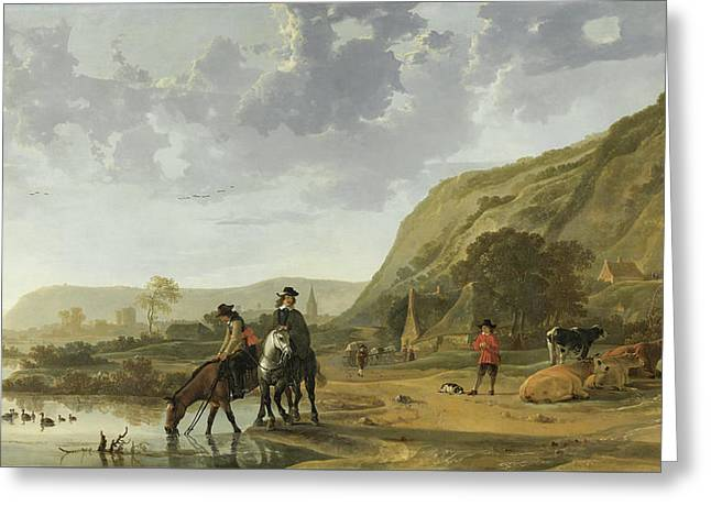 River Landscape With Riders Greeting Card by Aelbert Cuyp
