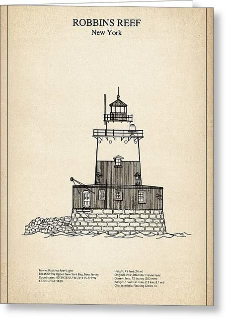 Robbins Reef Lighthouse - New York - Blueprint Drawing Greeting Card