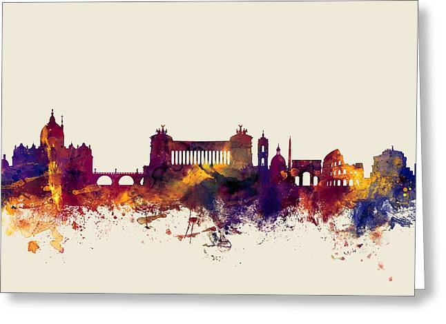 Rome Italy Skyline Greeting Card