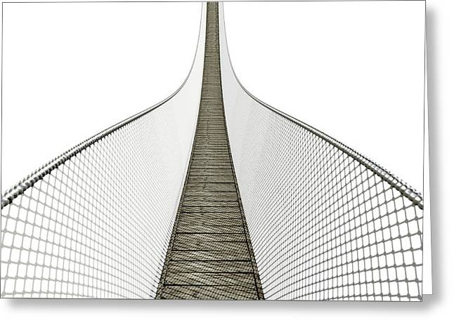 Rope Bridge On White Greeting Card by Allan Swart