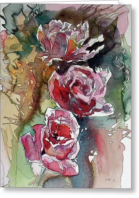 Greeting Card featuring the painting Roses by Kovacs Anna Brigitta