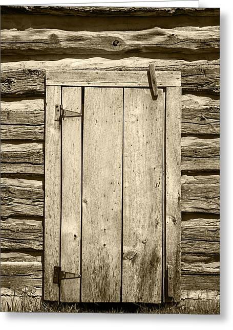 Rough Wood Door On Log Building Greeting Card