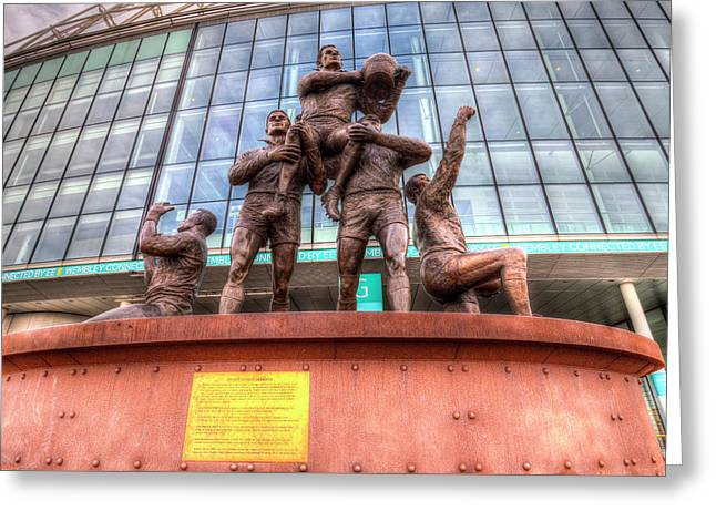 Rugby League Legends Statue Wembley Stadium Greeting Card