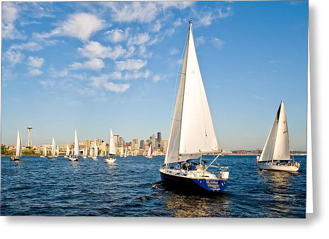 Sailing To Seattle Greeting Card by Tom Dowd