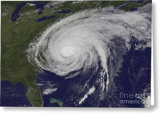 Satellite View Of Hurricane Irene Greeting Card by Stocktrek Images