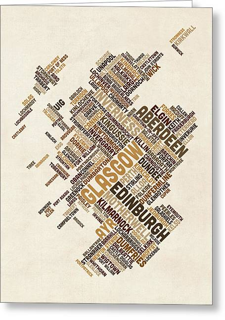 Scotland Typography Text Map Greeting Card
