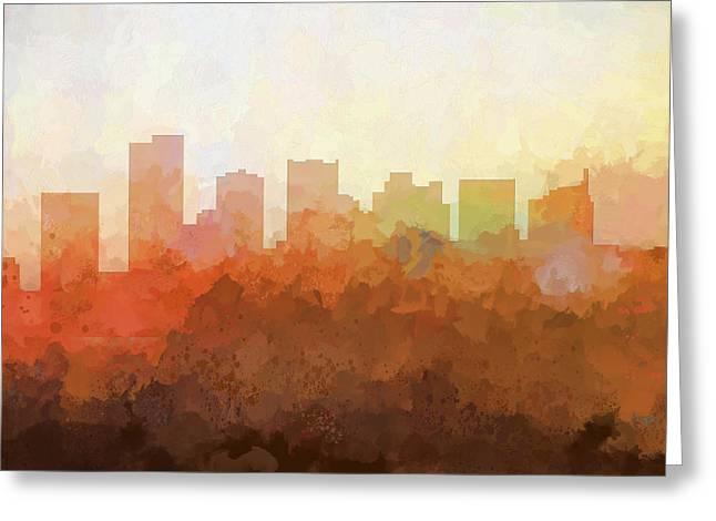 Greeting Card featuring the digital art Scottsdale Arizona Skyline by Marlene Watson