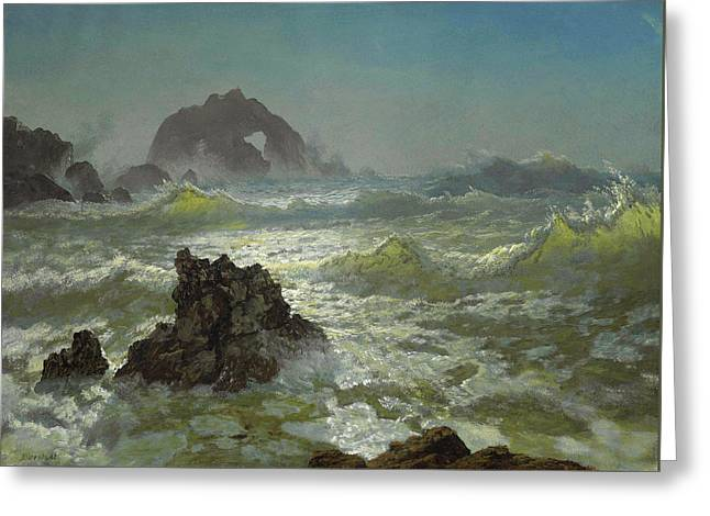 Seal Rock, California Greeting Card by Albert Bierstadt