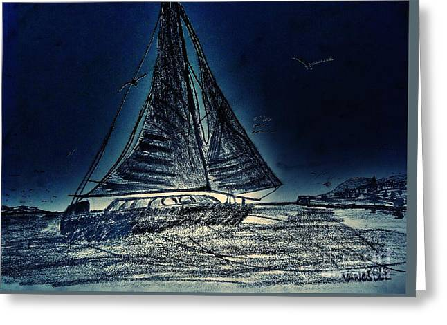Seascape Sailing Greeting Card by Scott D Van Osdol