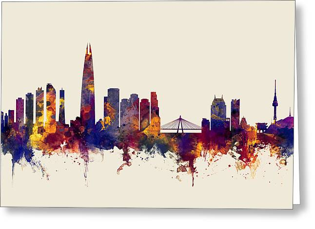 Seoul Skyline South Korea Greeting Card by Michael Tompsett