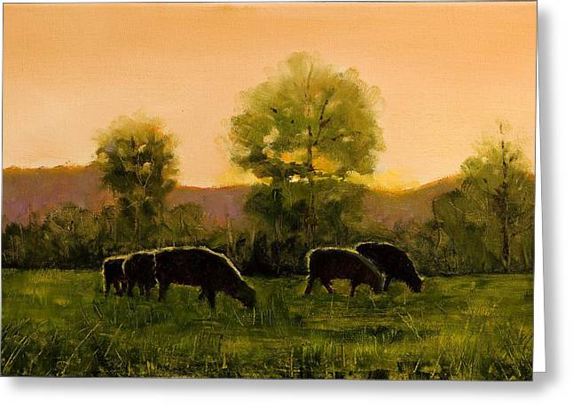 Greeting Card featuring the painting Sheep In The Pasture by John Reynolds