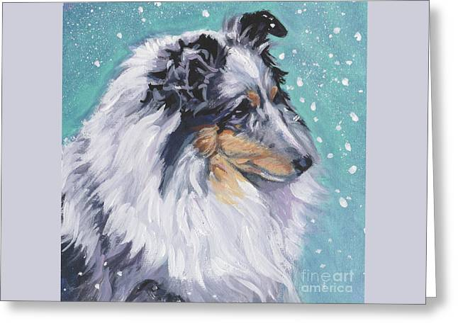 Greeting Card featuring the painting Shetland Sheepdog by Lee Ann Shepard