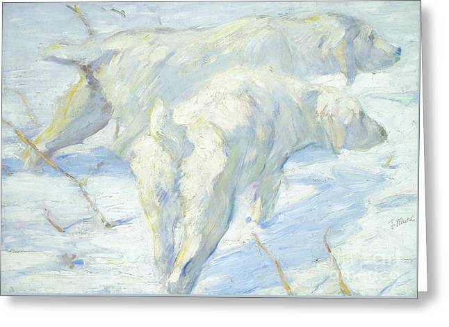 Siberian Dogs In The Snow Greeting Card by Franz Marc