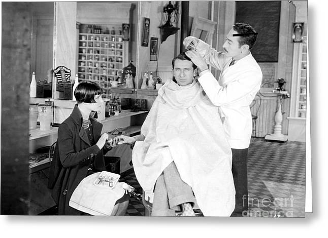 Silent Still: Barber Shop Greeting Card by Granger