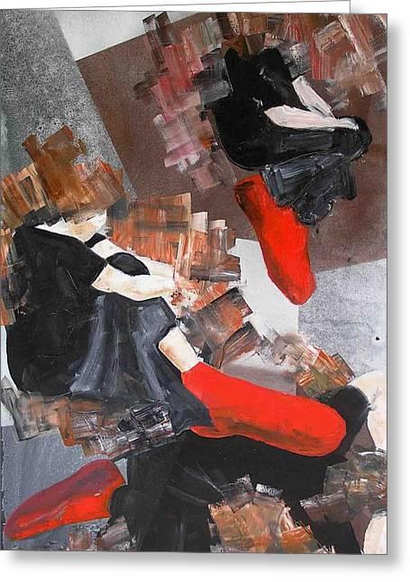 3 Siluets In Red Socks Greeting Card by Evguenia Men
