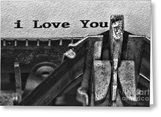 3 Simple Words In Black And White Greeting Card by Paul Ward