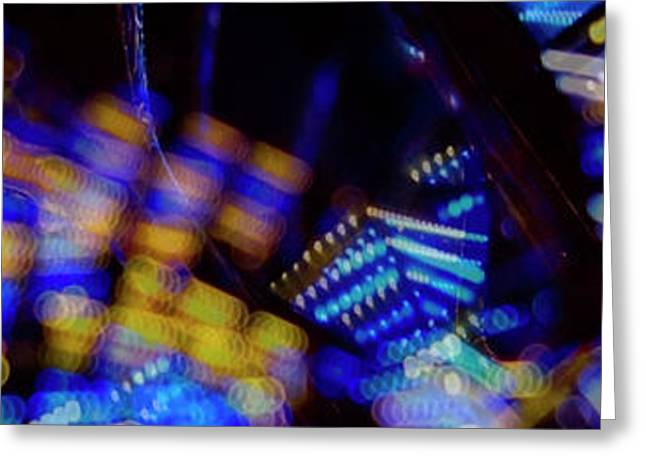 Greeting Card featuring the photograph Singapore Night Urban City Light - Series - Your Singapore by Urft Valley Art