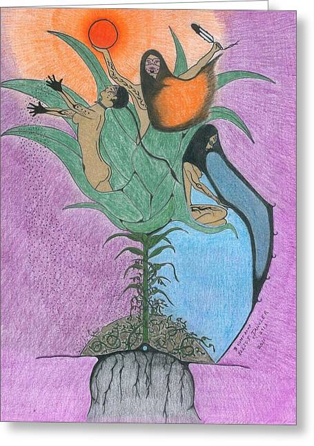 Green Beans Drawings Greeting Cards - 3 Sister Soup Greeting Card by Elliot Janvier